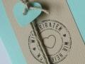 Hochzeitskarte FELINA Banderole creme / Karte mint Detail
