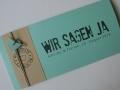 Hochzeitskarte FELINA Schrift GRUNGE Banderole creme / Karte mint / Herz mint