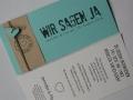 Hochzeitskarte FELINA Schrift GRUNGE Banderole creme / Karte mint / Herz mint mit Texteinlage