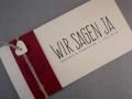 Hochzeitskarte Felina Banderole rot / Karte elfenbein / Herz elfenbein / Schrift VINTAGE No.2