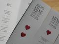 Hochzeit Menükarten LOFTY mit Herzen in rot