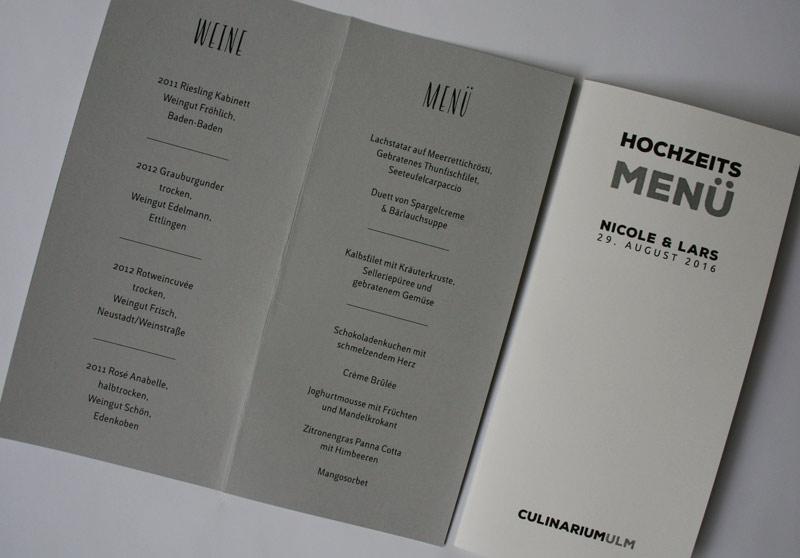Menükarten Hochzeit handgefertigt in Ihrem Design