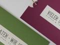 Hochzeitskarte BE PURE IN GREEN und CASSIS