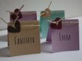 Platzkarten VINTAGE mit Herz und Kordel in verschiedenen Farben