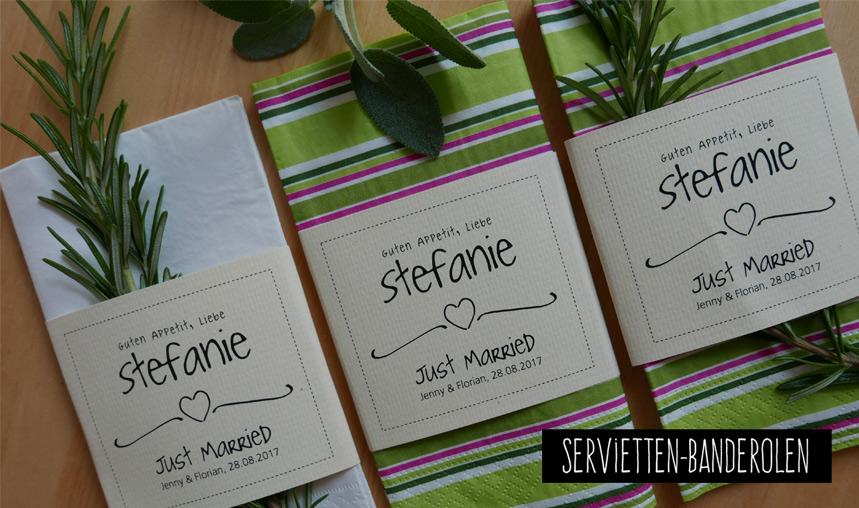 Personalisierte Serviettenbanderolen für die Hochzeitsgäste