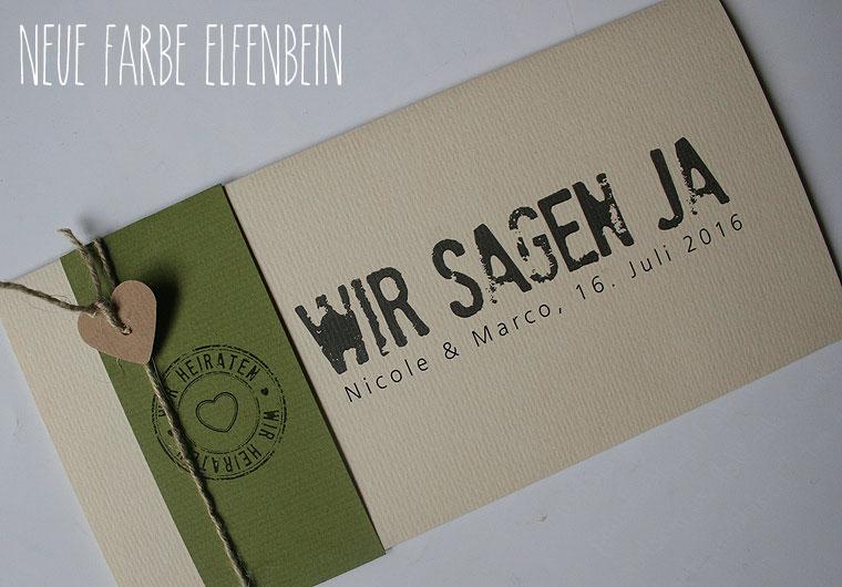 Einladungskarte - Hochzeitskarte in elfenbein oliv
