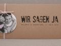 Hochzeitseinladung Hochzeitskarte Kraftpapier HEAVN Schrift GRUNGE1 mit Fotoanhänger und Kordel in rosa