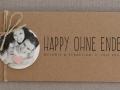 Hochzeitseinladung Hochzeitskarte Kraftpapier HEAVN Schrift VINTAGE2 mit Fotoanhänger rund und Naturkordel