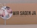 Hochzeitseinladung Hochzeitskarte Kraftpapier HEAVN Schrift GRUNGE 2 mit Fotoanhänger rund und Kordel in hellblau