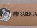 Hochzeitseinladung Hochzeitskarte Kraftpapier HEAVN Schrift GRUNGE 2 mit Fotoanhänger rund und Naturkordel