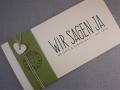 Hochzeitskarte Felina Banderole oliv / Karte elfenbein / Herz elfenbein / Schrift VINTAGE No.2