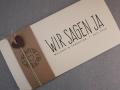 Hochzeitskarte Felina Banderole Kraftpapier / Karte elfenbein / Herz choco / Schrift VINTAGE No.2