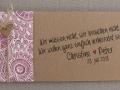 Hochzeitskarte Florali mit Banderole im FLORALI Design und Naturkordel sowie farbigem Herz mit Schreibschrift