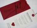 Hochzeitskarte JA! bordeauxrot mit Texteinlage