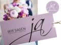 Hochzeitskarte WIR SAGEN JA in orchidee