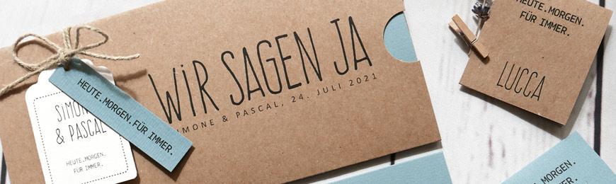 Hochzeitskarte Kraftpapier mit bluegrey - der Sommertrend