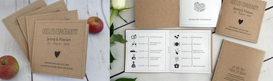 Hochzeitsprogramm aus Kraftpapier im Pocketformat