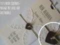 Hochzeitseinladung Hochzeitskarte Vintage elfenbein-choco mit Herzkordel aussen