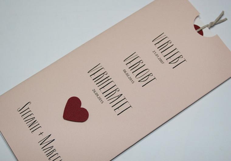 Schön Hochzeitskarte Rosa