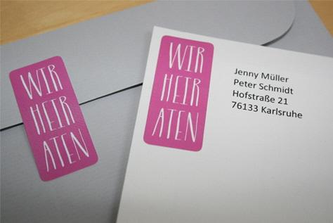 Aufkleber Hochzeitspost VINTAGE pink I Aufkleber Hochzeitspost / Aufkleber WIR HEIRATEN