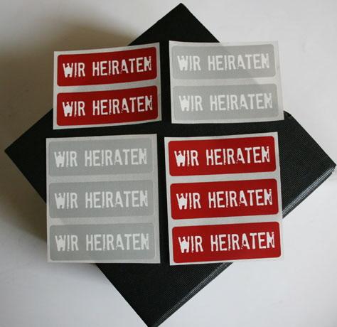 Aufkleber Hochzeitspost GRUNGE rot oder grau I Aufkleber Hochzeitspost / Aufkleber WIR HEIRATEN