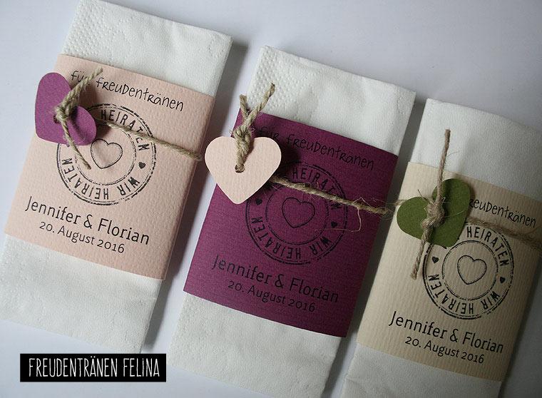 Taschentücher für Freudentränen FELINA  diverse Farben möglich