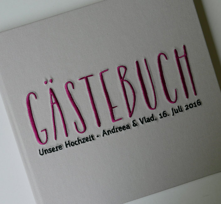 Gästebuch zur Hochzeit AMIRA grau/cassis