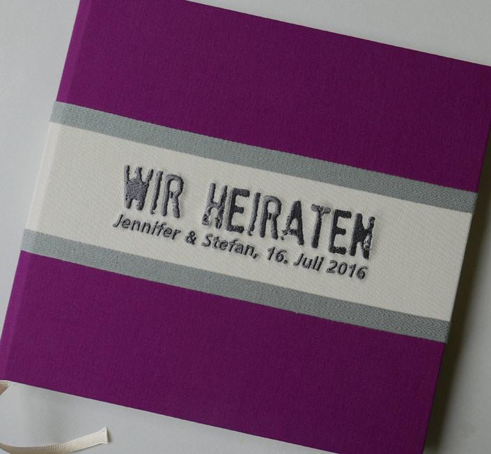 Gästebuch FELINA oder Be Pure in grau/cassis