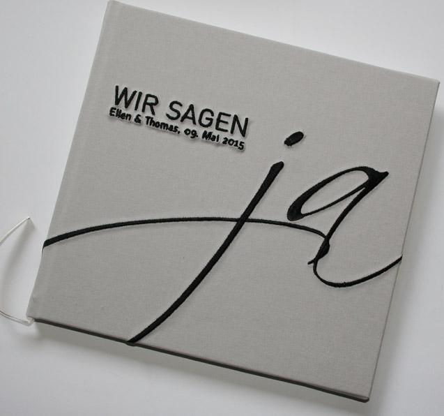 Gaestebuch Hochzeit JA! in grau
