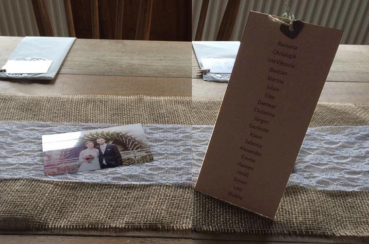 Ramona & Christoph Hochzeit in den Bergen, Namenskarten
