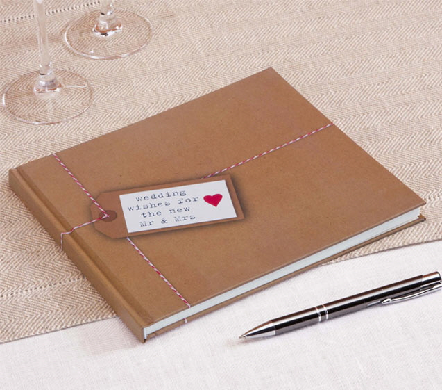Gästebuch Hochzeit - Hochzeitsdeko im Kraftpapier-Look