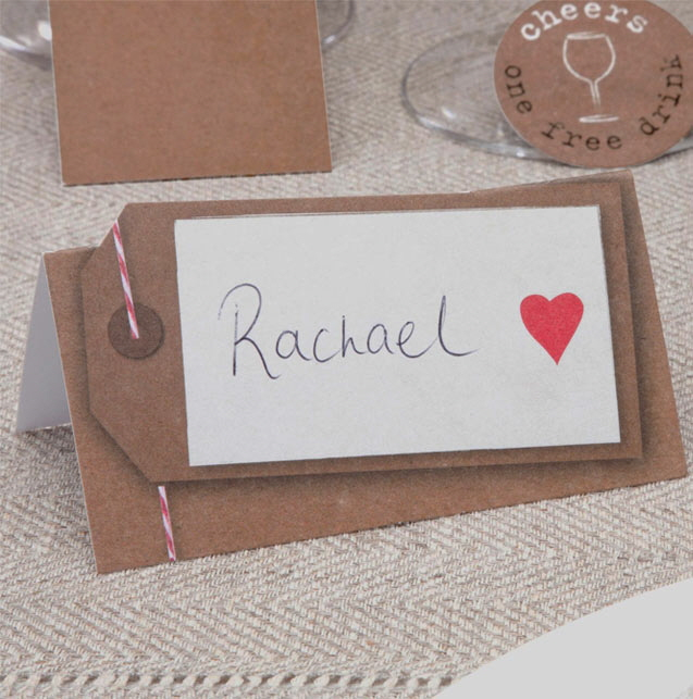 Platzkarten / Tischkarten Hochzeit - Hochzeitsdeko im Kraftpapier-Look