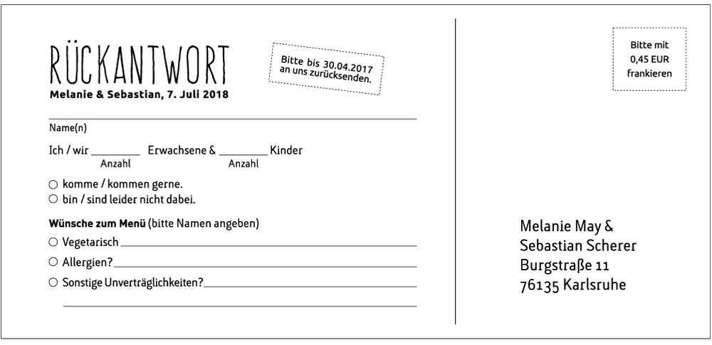 Rückantwortkarte Hochzeit: Textbeispiel
