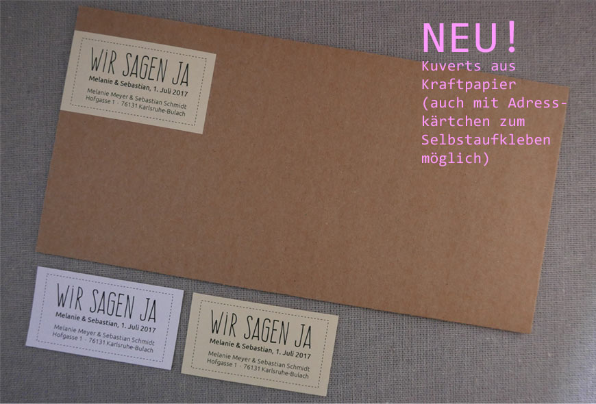 Kuverts Hochzeit aus Kraftpapier, auch mit Adresskärtchen zum Selbstaufkleben bestellbar