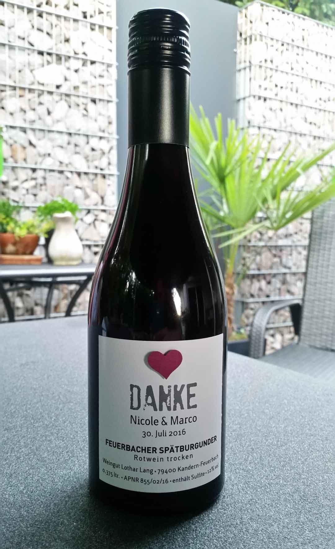 Weinflaschenetikett Hochzeitswein