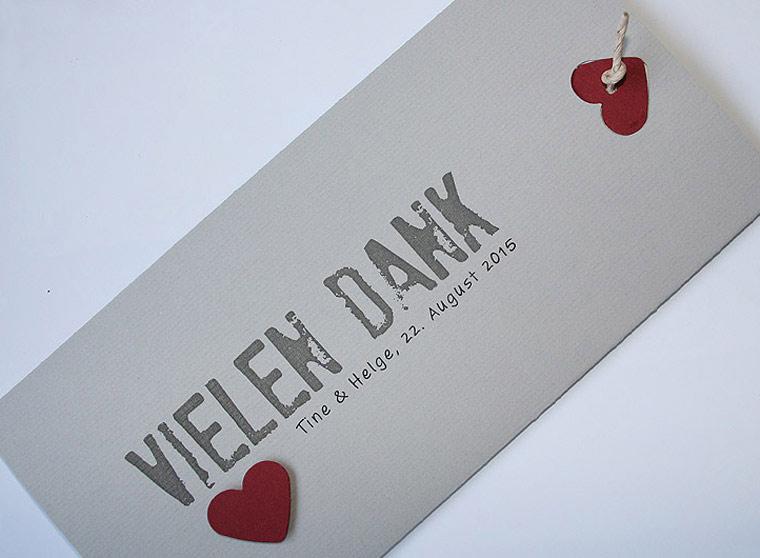 Danksagungskarte Hochzeit im Stil Ihrer Einladungskarte