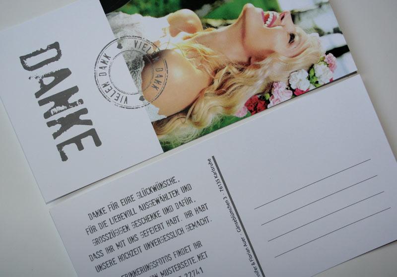 Danksagungskarte DIN Lang als Karte oder als Postkarte möglich