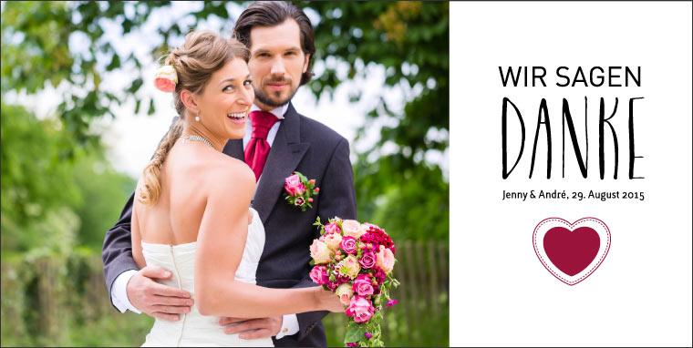 Danksagungskarte Hochzeit Vorderseite