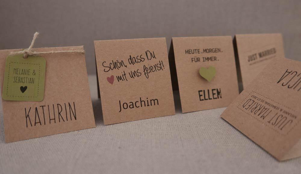 Platzkarten / Tischkarten aus Kraftpapier HEAVN: diverse Ausführungen