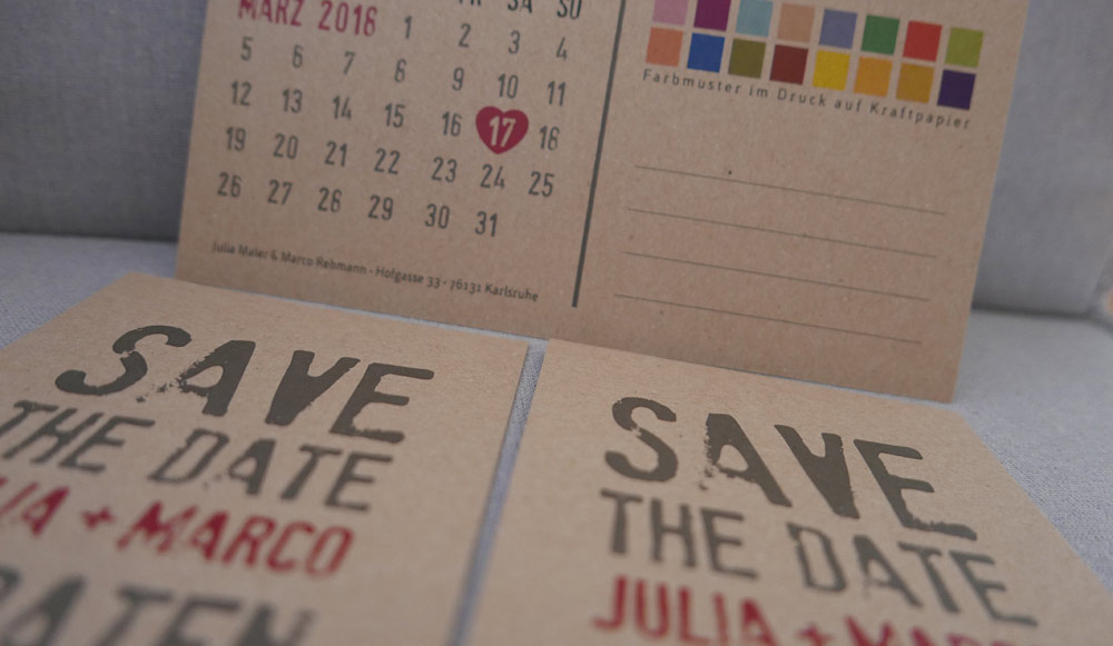 Save-the-Date-Karte aus Kraftpapier
