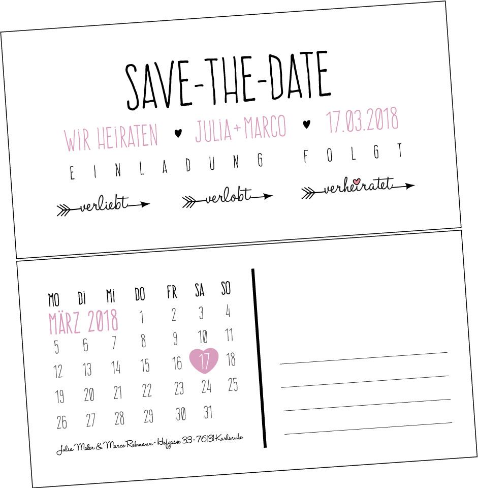 Save-the-Date-Karte VINTAGE2 verliebt - verlobt -verheiratet