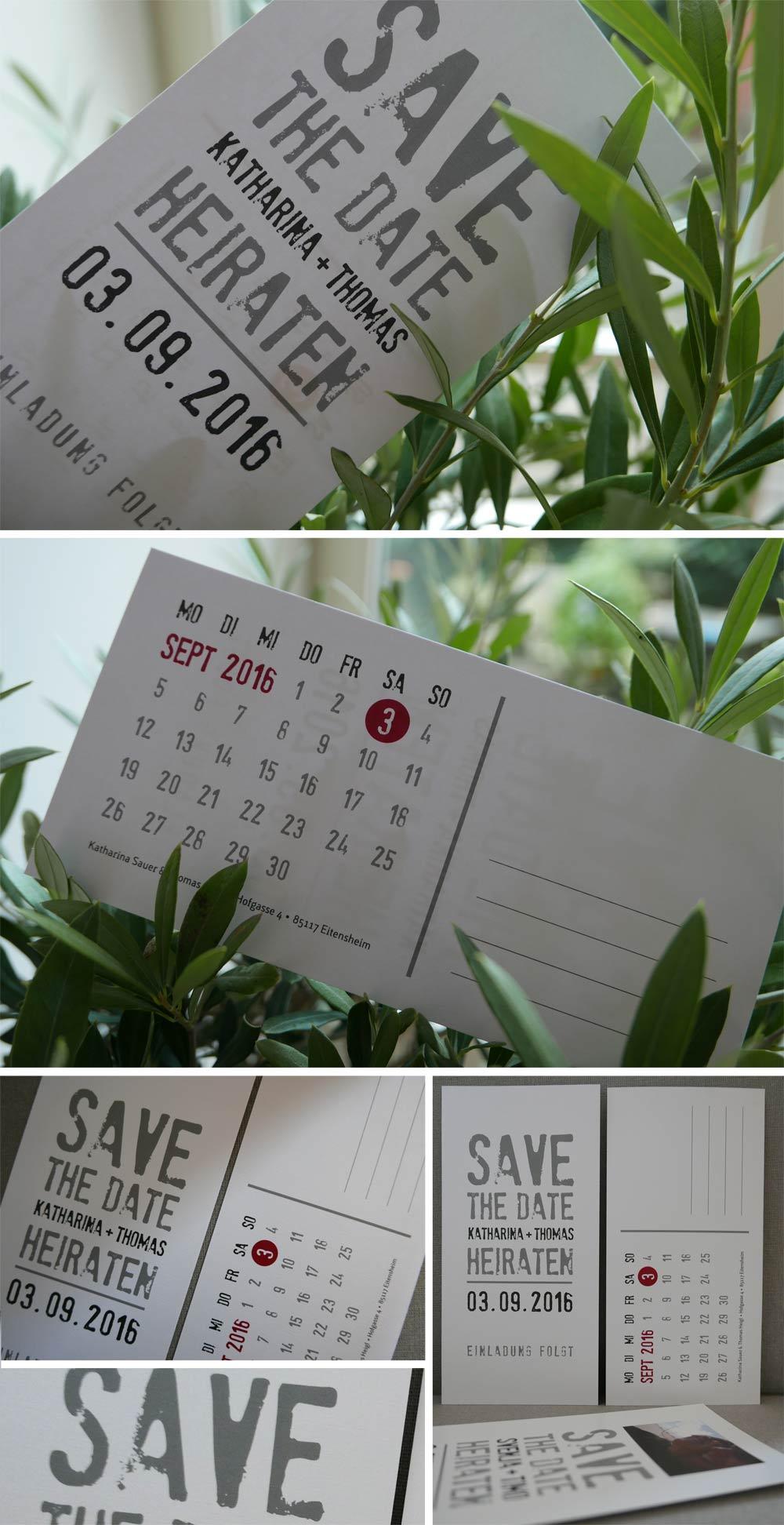 Save-the-Date-Karte zur Hochzeit auf weissem Bilderdruckpapier