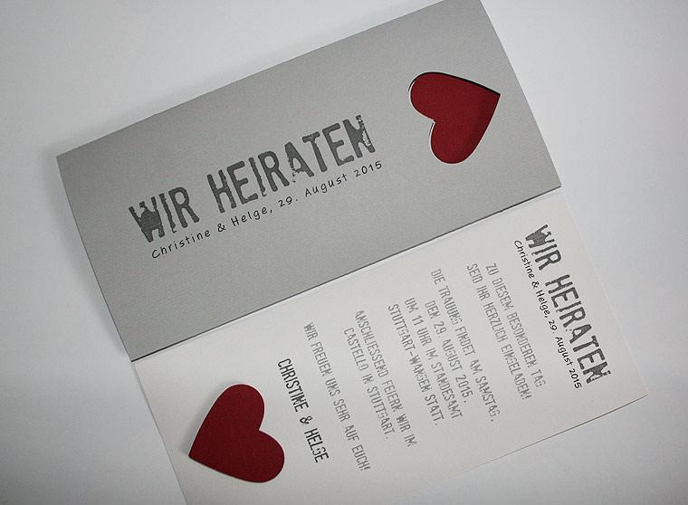 Hochzeitskarte grau Be Grey No.3