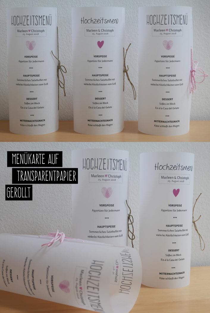 Menükarte Hochzeit auf Transparentpapier