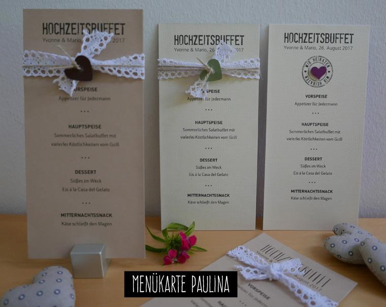 Menükarte Hochzeit PAULINA