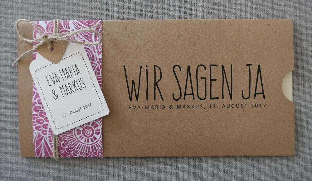 Hochzeitskarte FLORALI aus Kraftpapier