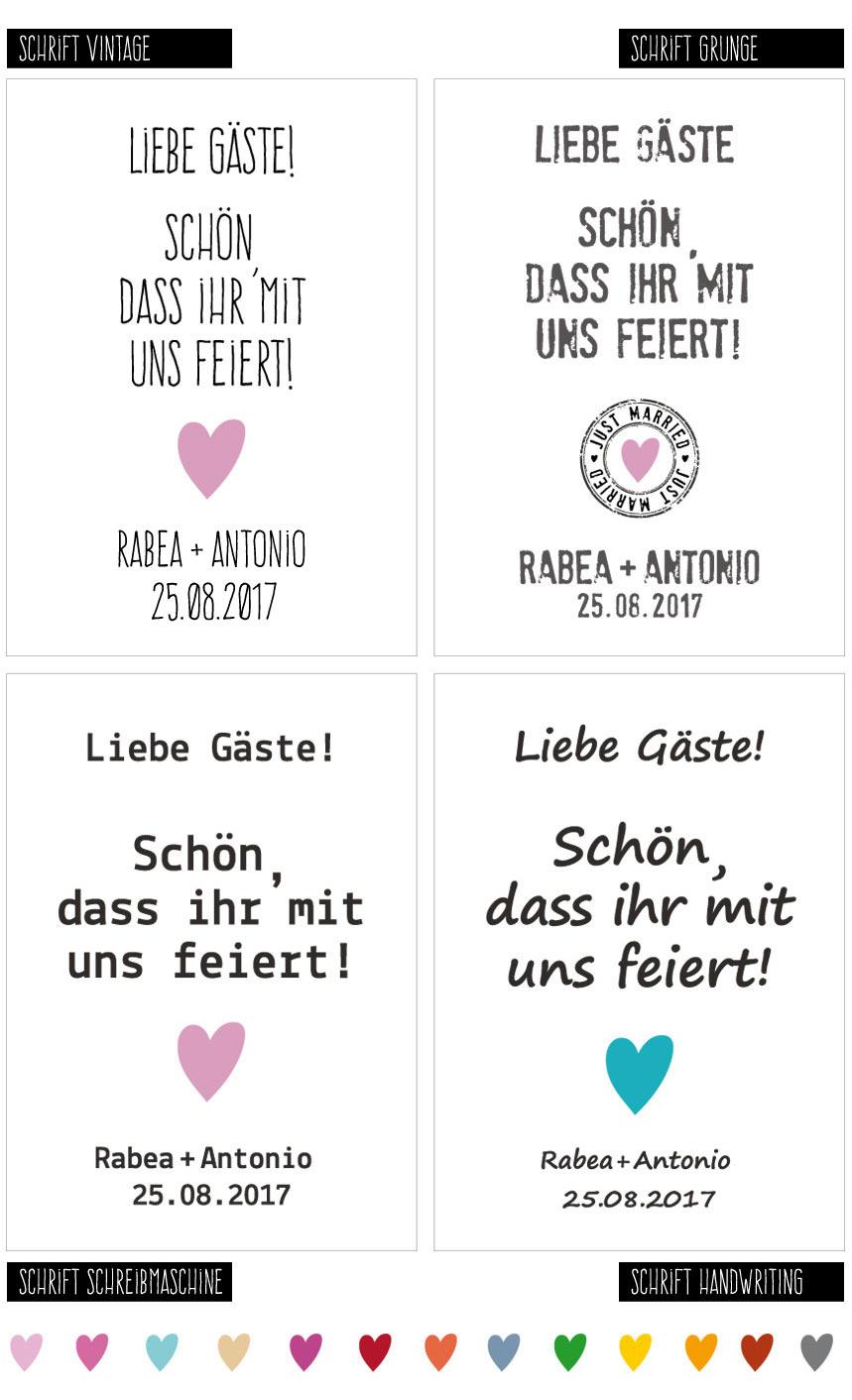 Poster Hochzeit: verschiedene Schriftarten