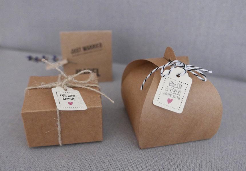 Boxen aus Kraftpapier Gastgeschenke zur Hochzeit