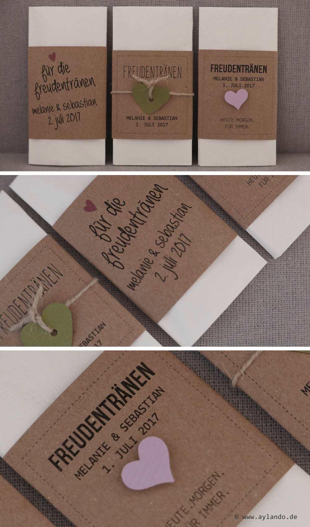 Taschentücher für Freudentränen aus Kraftpapier - diverse Ausführungen möglich