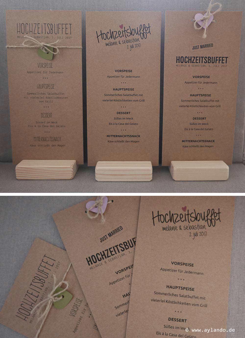Menükarten zur Hochzeit aus Kraftpapier - diverse Ausführungen möglich